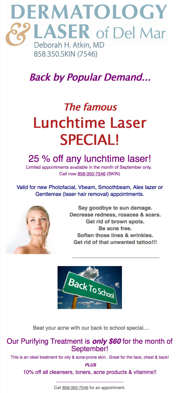 Lunchtime Laser Special